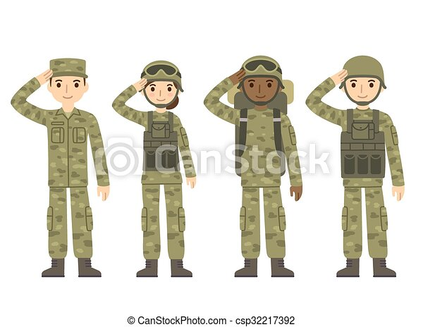 Cartoon army people - csp32217392