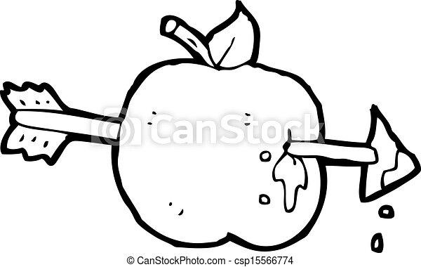 Cartoon arrow through apple.