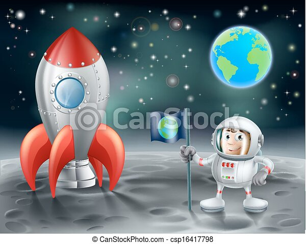 Cartoon astronaut and vintage space rocket on the moon - csp16417798