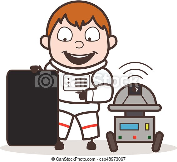cartoon astronaut showing a blank board with robot vector clip rh canstockphoto com