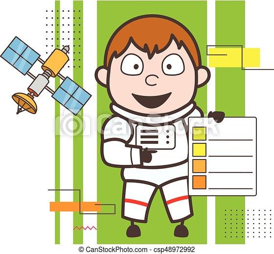 cartoon astronaut showing a checklist vector illustration eps rh canstockphoto ca
