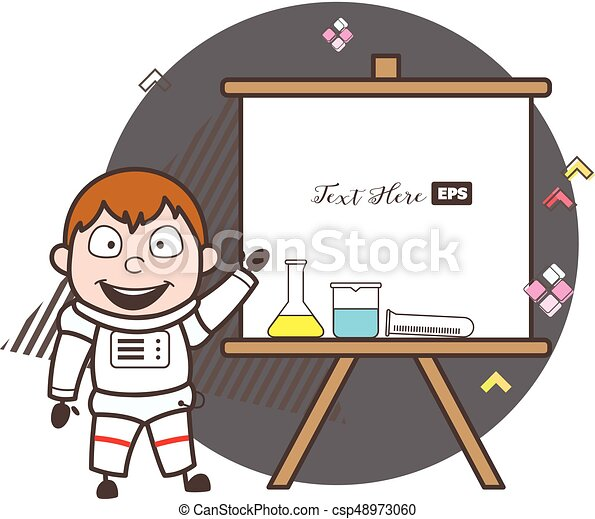 Cartoon Astronaut With Science Lab Equipments And Presentation Banner Vector Illustration