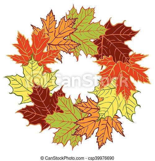 cartoon autumn leaf vector wreath - csp39976690