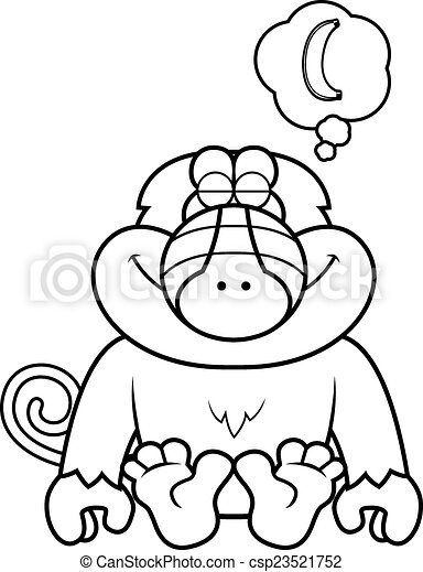 Cartoon Baboon Dreaming A Cartoon Illustration Of A Baboon Dreaming