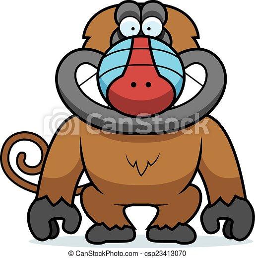 Cartoon Baboon Grin - csp23413070