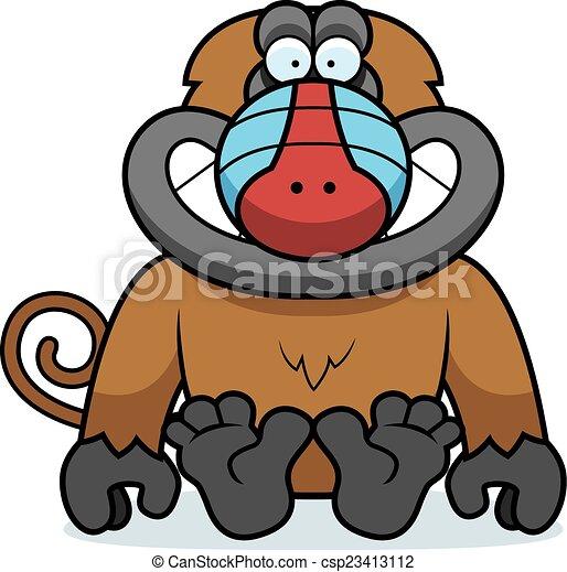 cartoon baboon sitting a cartoon illustration of a baboon vector rh canstockphoto com baboon clipart cute baboon clipart