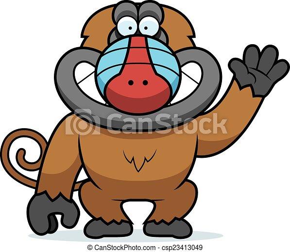 cartoon baboon waving a cartoon illustration of a baboon eps rh canstockphoto com  baboon clipart black and white