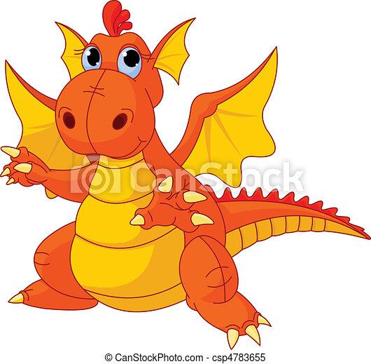 Cartoon baby dragon - csp4783655