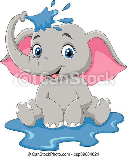 vector illustration of cartoon baby elephant spraying water