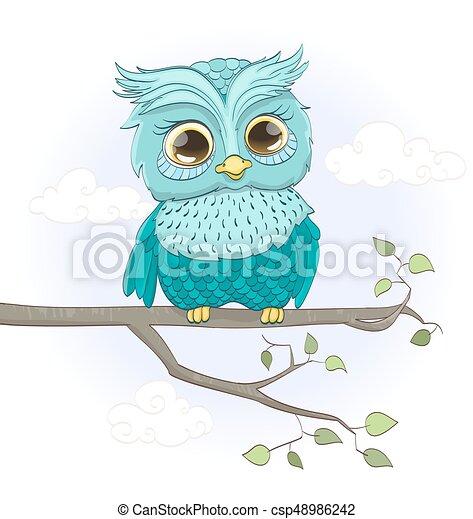 cartoon baby owl sitting on a branch vector illustration