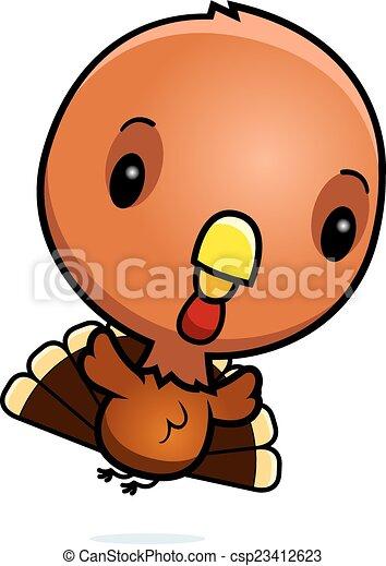 Cartoon baby turkey flying. A cartoon illustration of a ...