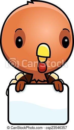 Cartoon Baby Turkey Sign A Cartoon Illustration Of A Baby Turkey