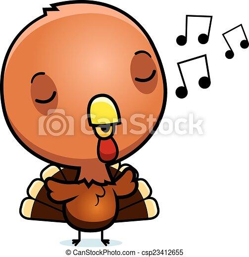 Cartoon Baby Turkey Singing A Cartoon Illustration Of A Baby Turkey