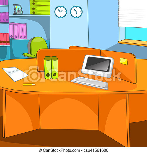 Cartoon Background Of Workplace At Office Hand Drawn Cartoon Of