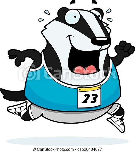 cartoon badger running race a happy cartoon badger running rh canstockphoto com UW Badger Clip Art Hufflepuff Badger
