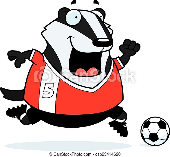 cartoon badger soccer a cartoon illustration of a badger vector rh canstockphoto com badger clipart black and white badger clipart black and white