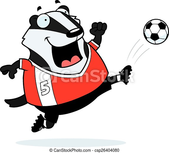 cartoon badger soccer kick a cartoon illustration of a vector rh canstockphoto ca badger clipart black and white badge clipart