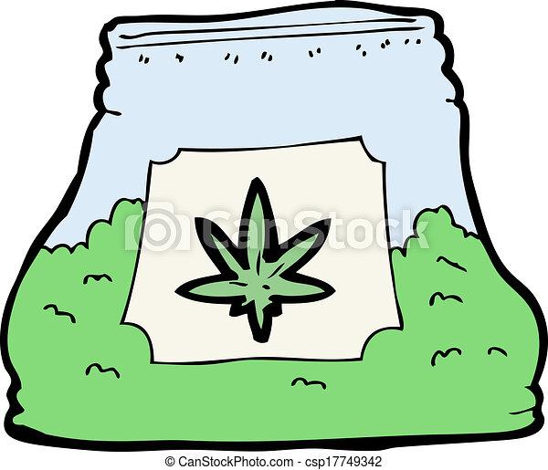 cartoon bag of weed - csp17749342