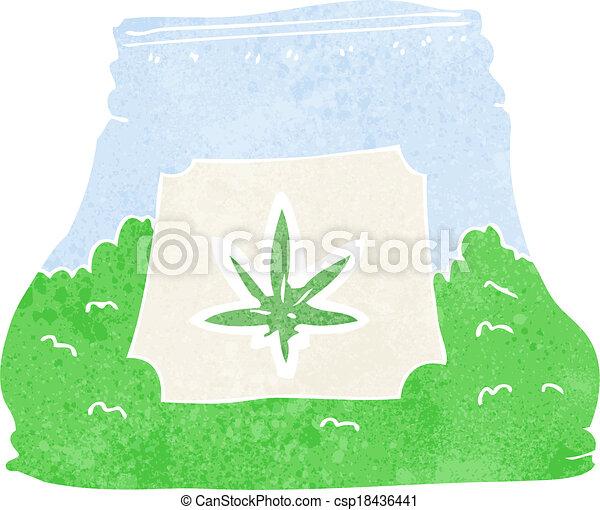 cartoon bag of weed - csp18436441