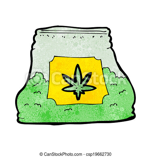 cartoon bag of weed - csp19662730