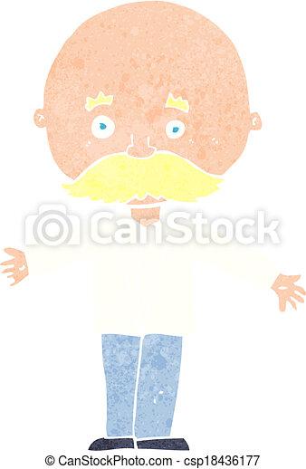 cartoon bald man with open arms - csp18436177
