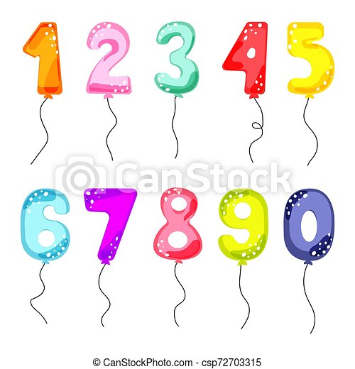 Cartoon Balloon Numbers For Birthday Kids Party Cards Child Celebration Invitation Card Vector Set