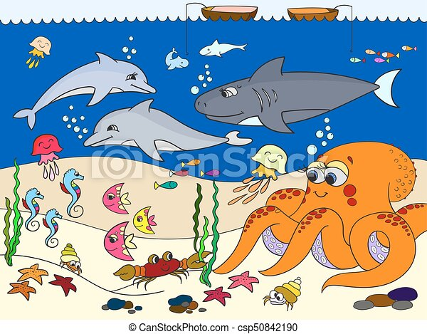 Cartoon Bambini Animals Vettore Fondo Marino Marino Delfino