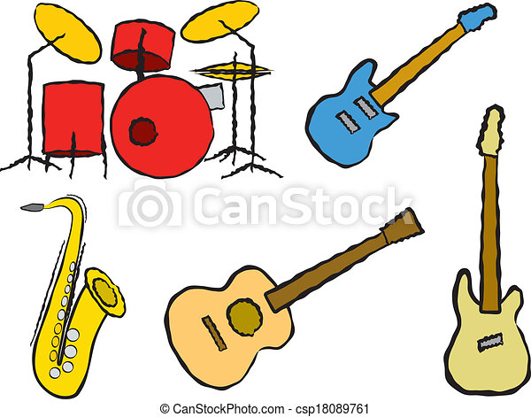 cartoon band instruments five cartoon musical instruments clip rh canstockphoto com musical instrument clip art free musical instruments clipart images