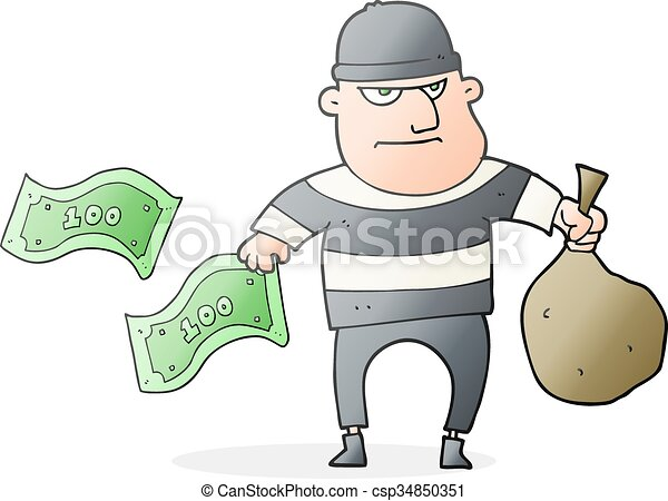 freehand drawn cartoon bank robber clipart vector search rh canstockphoto com robbery clip art rubber clipart black and white