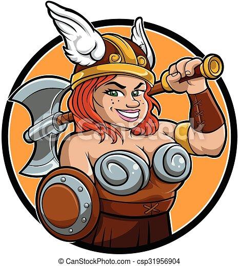 Cartoon Barbarian Viking Girl Csp31956904