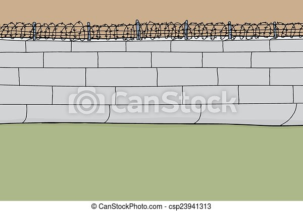 Cartoon barbed wire wall. Hand drawn barbed wire wall cartoon ...