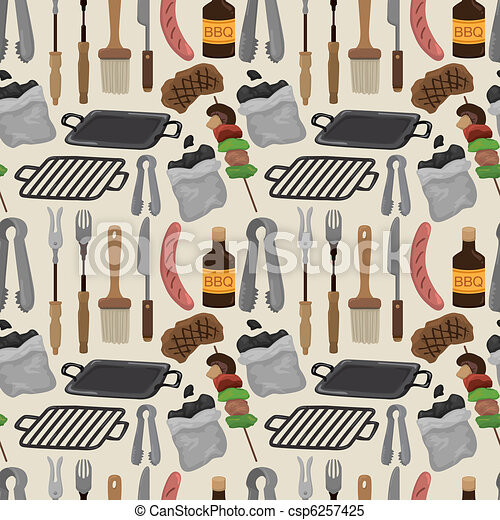 cartoon barbeque party tool seamless pattern - csp6257425