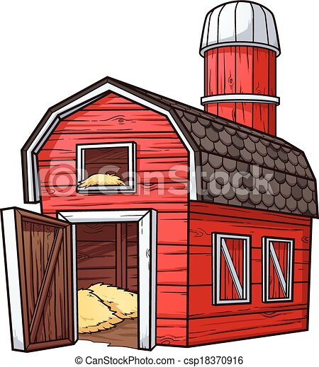 Cartoon Barn Red Vector Clip Art Illustration