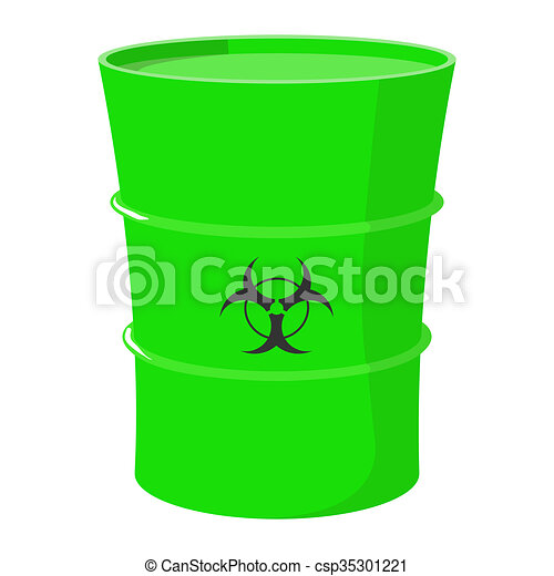 Cartoon barrel with toxic waste on a white background ...