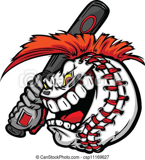 cartoon baseball ball face with mohawk hair holding baseball bat