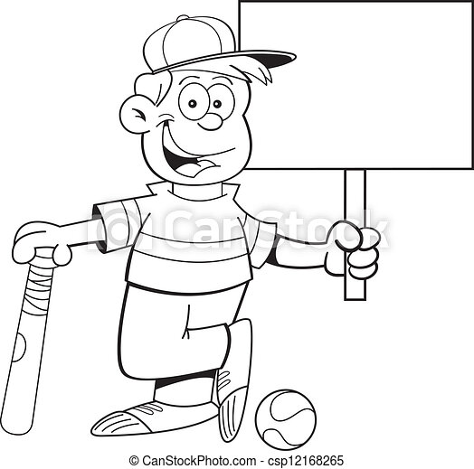 Kids Baseball Clipart Black And White | www.pixshark.com ...