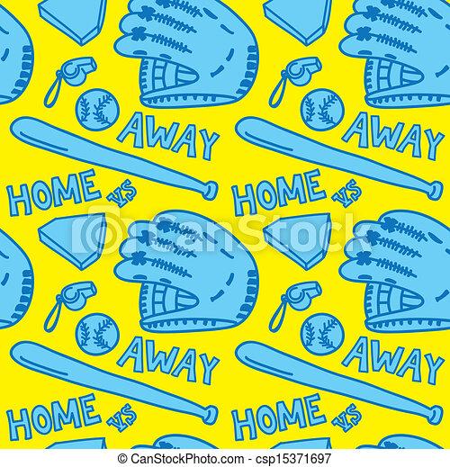 cartoon baseball stuff pattern - csp15371697