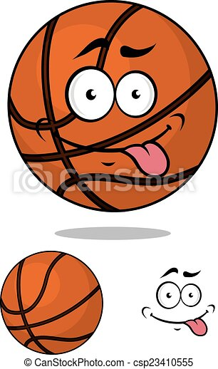 Cartoon basketball ball character with happy emotions - csp23410555