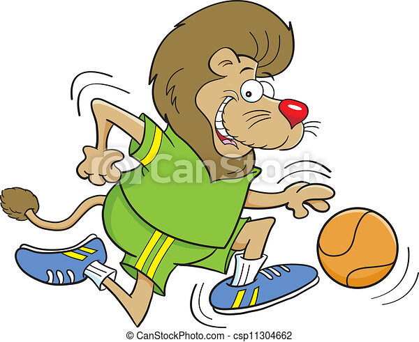 Cartoon Basketball Lion - csp11304662