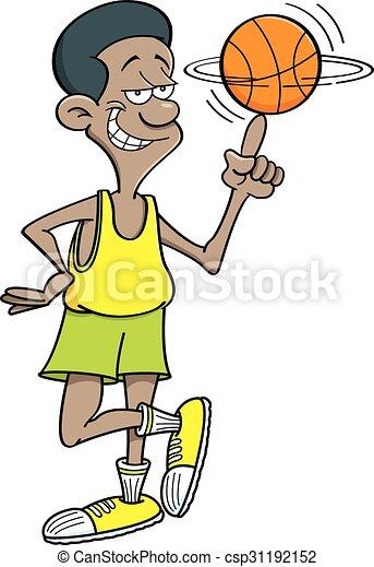 Cartoon basketball player spinning  - csp31192152