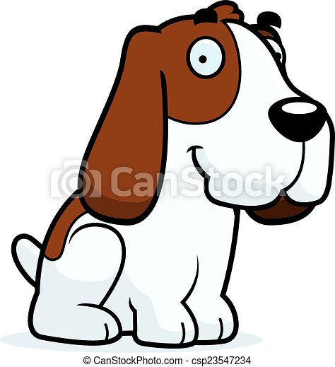 cartoon basset hound sitting a cartoon illustration of a vectors rh canstockphoto com basset hound birthday clipart
