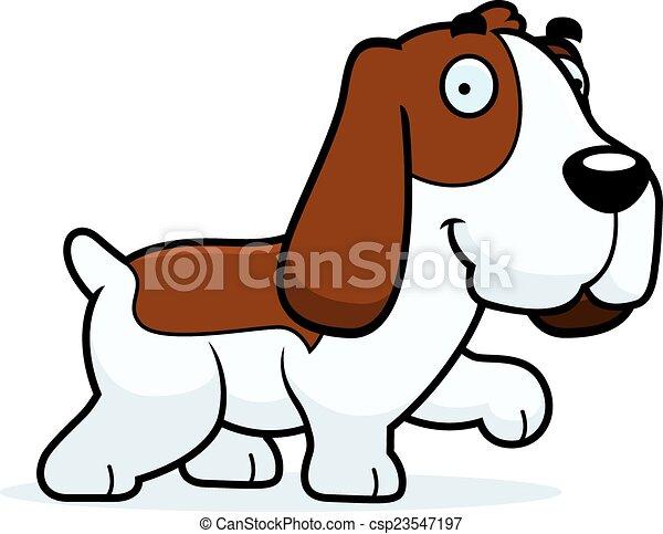 cartoon basset hound walking a cartoon illustration of a eps rh canstockphoto com