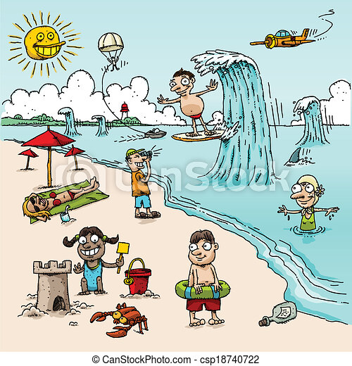 A Vector Cartoon Beach Scene With People In Different