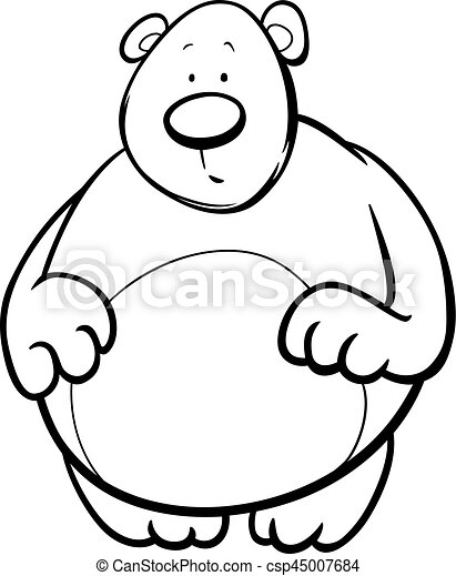 Cartoon Bear Coloring Page Black And White Cartoon Illustration Of