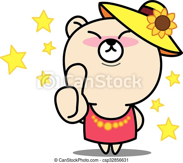 Cartoon bear Thumbs up  vector illustration - csp32856631