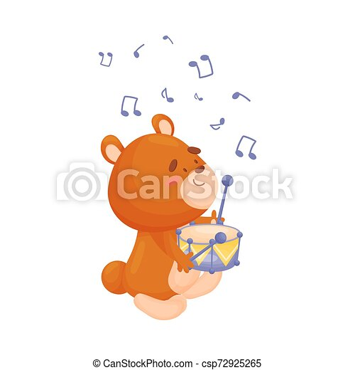 Cartoon bear with a drum. Vector illustration on a white background. - csp72925265
