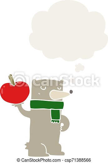 cartoon bear with apple and thought bubble in retro style - csp71388566