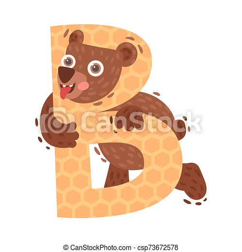 Cartoon bear with letter B. Vector illustration on a white background. - csp73672578