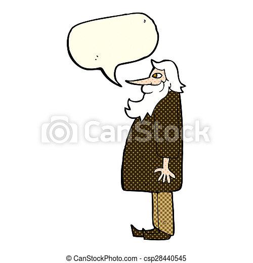 cartoon bearded old man with speech bubble - csp28440545