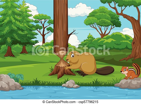 Cartoon beaver cutting a tree in the forest - csp57796215
